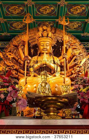 Buddha Showing A Thousand Hands Statue In Chinese Temple, Bangkok Thailand