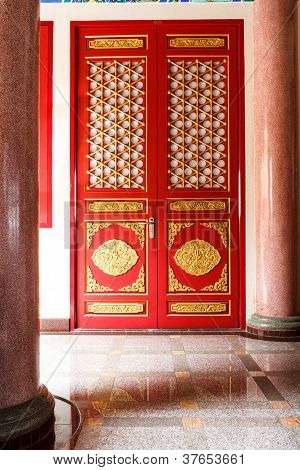 The Red Door With Gold Texture In Chinese Style