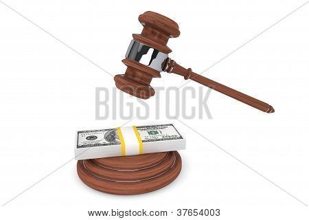 Judge Gavel And One Hundred Dollars