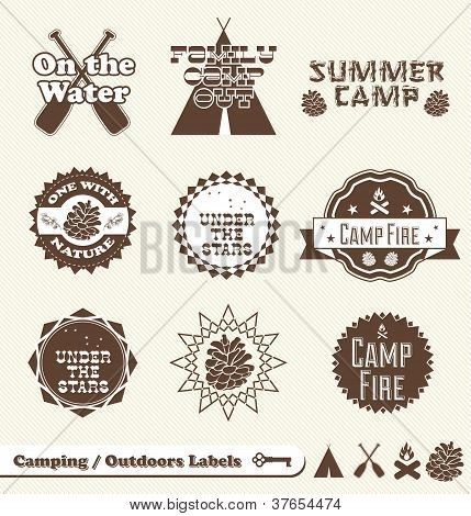 Vector Set: Vintage Summer Camp Labels and Stickers