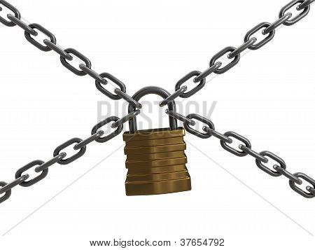 Padlock with chains (incl. clipping path)