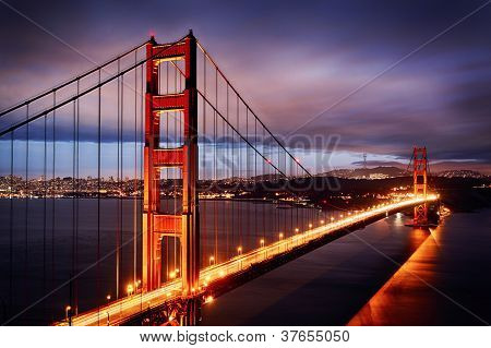 Night Scene With Golden Gate Bridge