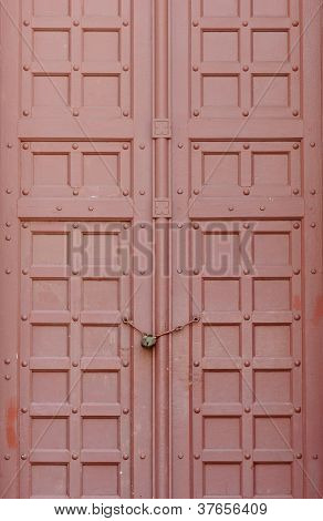 Red Wood Door With Key
