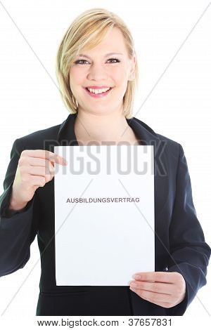 Smiling Professional Holding Sheet Of Paper