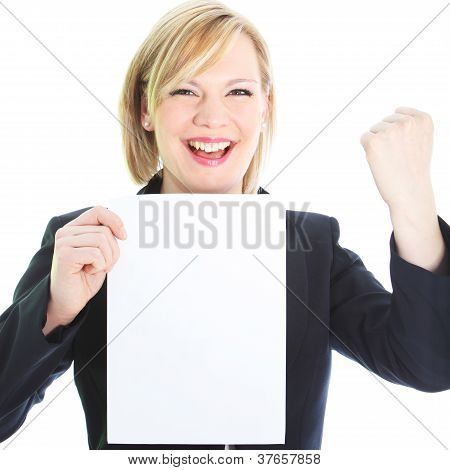 Jubilant Woman With Blank Sheet Of Paper