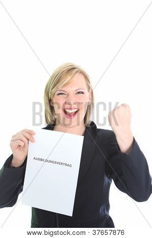 Excited Young Woman With Certficate