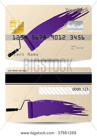 Credit Card Design With Paint Roller