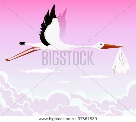 Flying Stork Delivering Girl