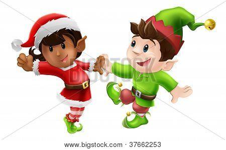 Elfos de Natal dançando