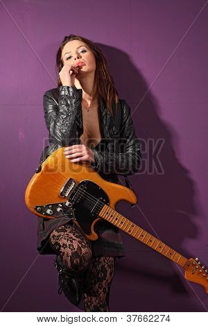 Sexy Female Guitar Player