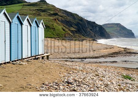 Beach huts on Charmouth beach Devon