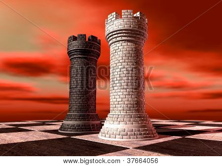 Black And White Chess Castles Square Off