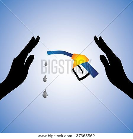 Concept Illustration Of Saving/conserving Oil(gas). The Graphic Contains Female Hands Silhouette And