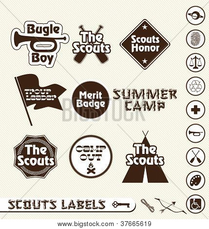 Vector Set: Boy Scouts Labels and Badges