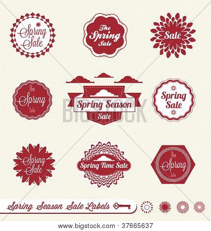 Vector Set: Vintage Spring Season Sale Labels