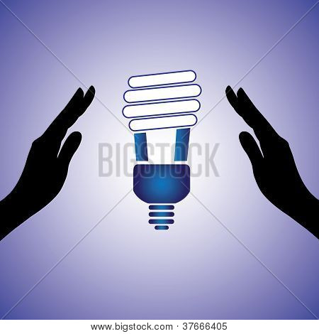 Concept Illustration Of Saving/conserving Power. The Graphic Contains Female Hands Silhouette And Co