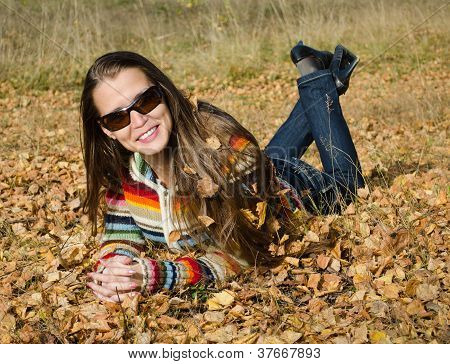 The Beautiful Girl On Autumn Walk