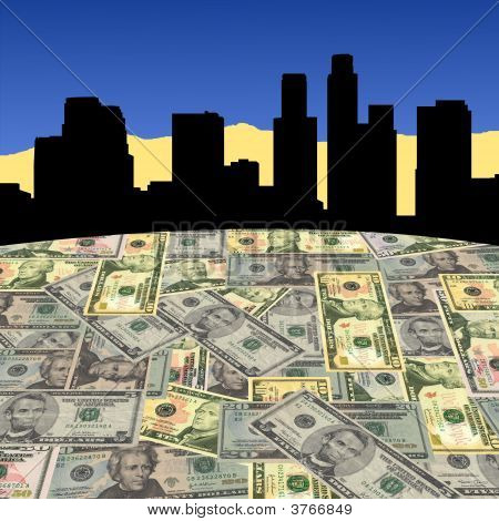 Los Angeles Skyline With Dollars