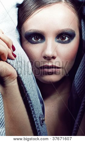 Stylish Girl Portrait With Fashion Makeup