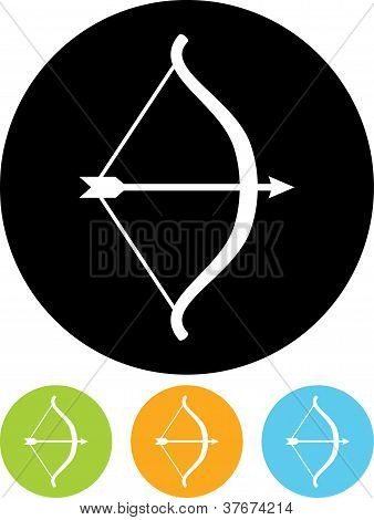 Vector Icon Isolated On White - Bow And Arrow