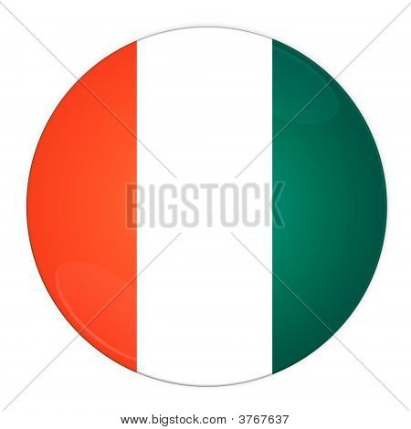 Cote D\'Ivoire Button With Flag