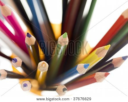 Stacked Of Colorful Pencil