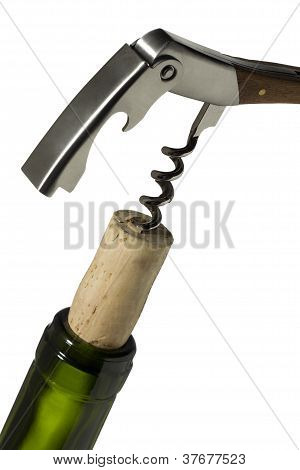 Cork Screw On A Wine Bottle Neck