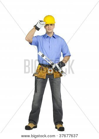 Construction Worker Holding A Level Ruler
