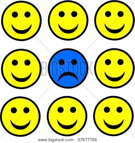 Sad Smiley Standing Out.
