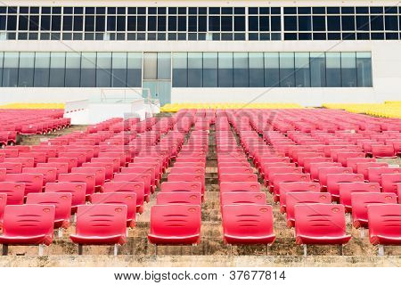 Empty Plastic Seats At Stadium