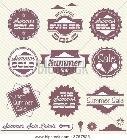 Vector Set: Vintage Summer Sale Labels and Stickers