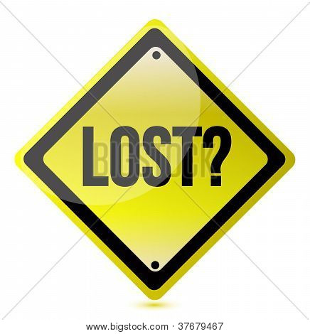 Yellow Lost Sign Illustration Design