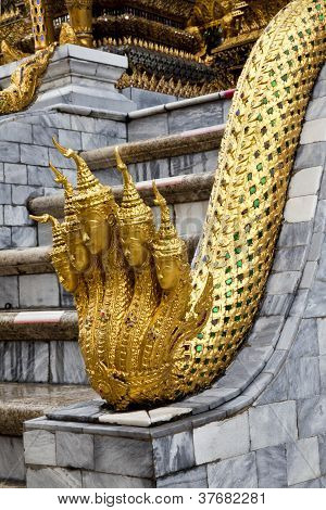 angel head golden naga statue