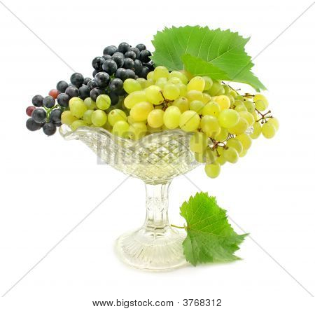 Cluster Green And Blue Grape Isolated On White
