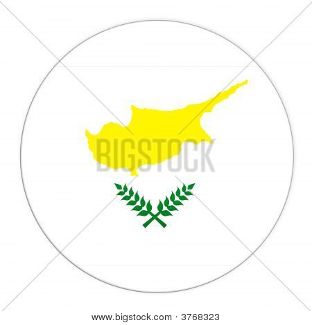 Cyprus Button With Flag