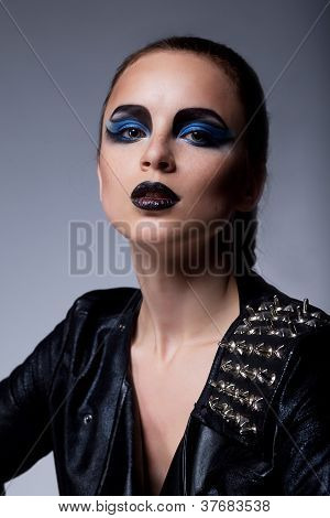 Beautiful Fashion Arrogant Woman With Blue Eyes Make-up