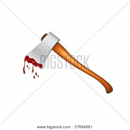 Realistic axe with blood