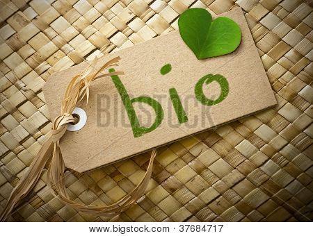 Natual cardboard label with the word bio