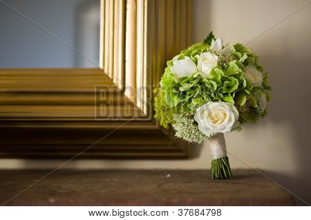Wedding Bouquet And Mirror