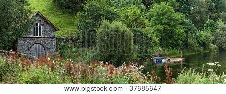 Panoramic view over lakeside, Cumbria Lake District
