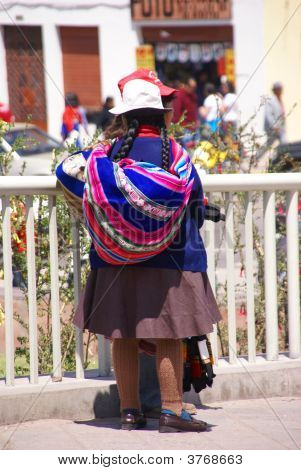 Quechua Indian Women In Colorful Clothes