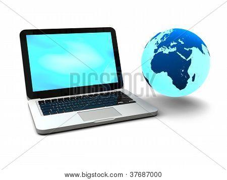 Gloving Globe With Laptop