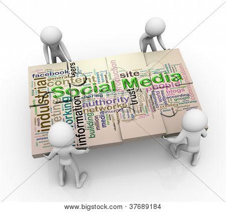3D Men And Social Media Puzzle Peaces