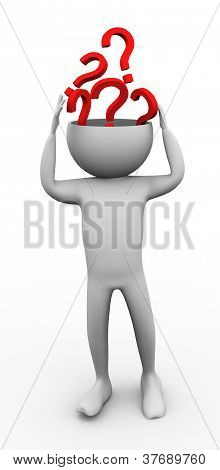 3D Man Brainstorming