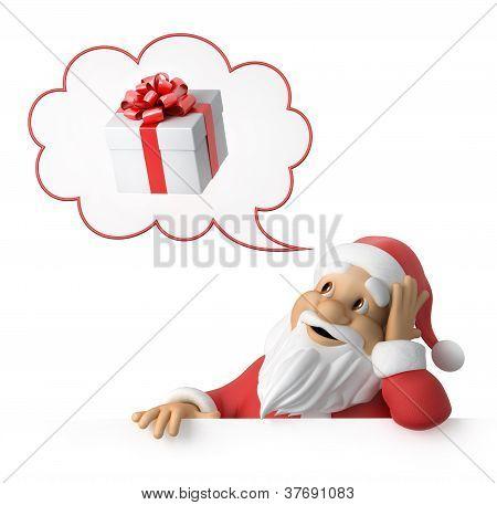 Santa Claus träumt über Geschenke