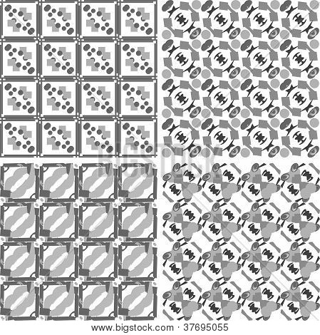 Set of monochrome geometrical patterns. Vector
