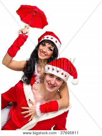 Happy Couple Wearing Santa Claus Clothes
