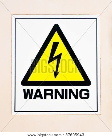 High Voltage Warning Sign On