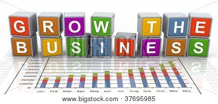3D Buzzword Text 'grow The Business'