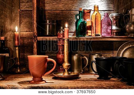 Beverage Mug And Pub Drinking Cups In Old Tavern